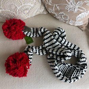 Kate Spade Winter Scarf - Black Red & White